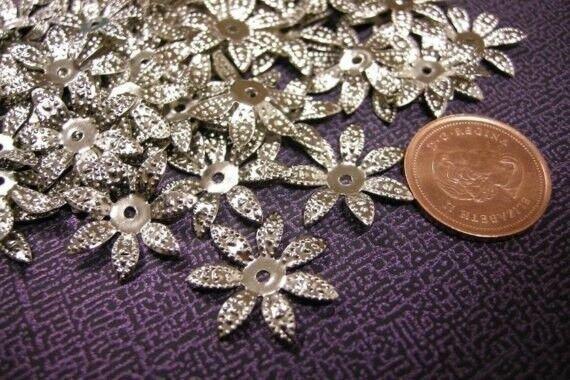 30pcs bendable antique silver filigree flower bead caps-1613