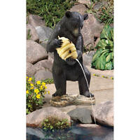 Water Fountain Black Bear Holding Beehive Piped Statue Pond Sculpture Statue
