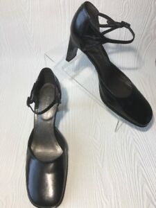 Enzo Angiolini Whitney Women Mary Jane  Heels Pumps Size 9 Black Leather