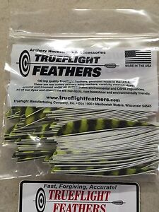 Trueflight 5 inch Feathers Right Wing Parabolic Cut 100 pack Yellow Barred