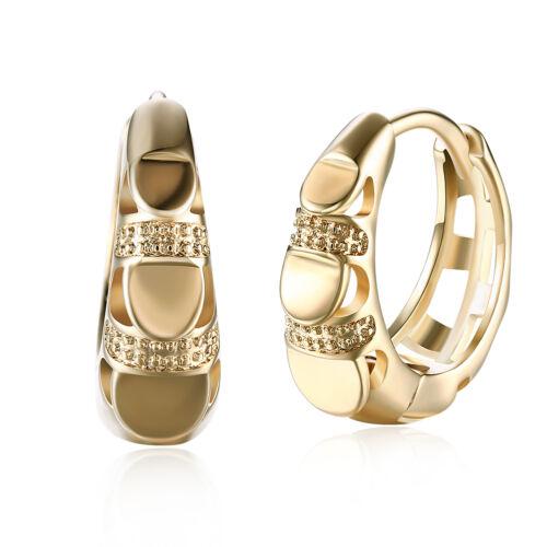 Elegant 18K Gold Filled GF GP Huggie Hoop Earrings