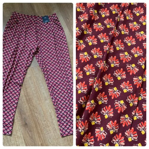 M/&S Trousers Pretty Floral Tapered Summer Wine Colour Size 12 Short NEW BNWT