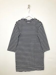 Everlane-Striped-Breton-Dress-Size-XXS-Tunic-Zip-Shoulder-Navy-Blue-White-Sleeve