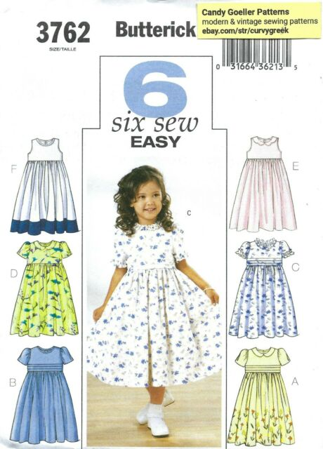 Butterick 6202 Girls Easy Sewing Pattern Summer Dresses Size 2 to 8 UNCUT
