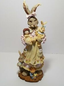 12-034-Resin-Mom-And-Kids-Bunny-Rabbit-Collectible-Figurine-Easter-Spring