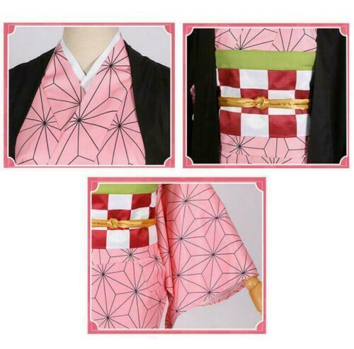 Kimetsu no Yaiba Kamado Nezuko Cosplay Japanese Costum Cape Kimono Suit Dresses{