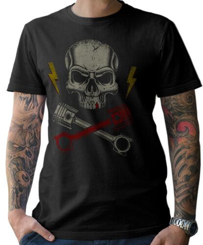 Motard Tête de Mort T-Shirt Oldschool Moto Visseur Chopper Hommes