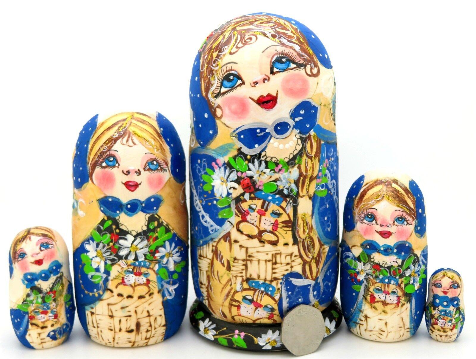 Pirografia Matrioshka Blu oro Bianco Dtuttia Russia Russe 5  Fatto a uomoo Vestito  buon prezzo