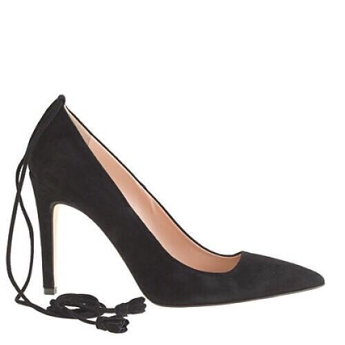 J Crew Falsetto Suede Ankle Tie Women's Black Heels 7