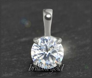 Diamant-Brillant-585-Gold-Damen-Anhaenger-Solitaer-1-22-ct-Si-14-Karat-Weissgold