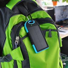 5000mAh Solar Power Bank Cargador Doble USB Portátil Impermeable para iPhone-Azul-W -