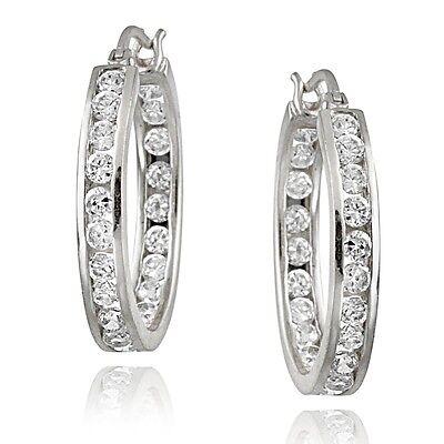 925 Silver Channel-Set CZ 20mm Hoop Earrings