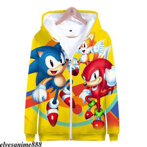 Anime Sonic The Hedgehog Zipper Hoodies Unisex Sweatshirt Print Sweater Costume Ebay