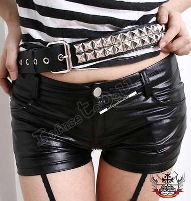 Punk Rock Hip Hugging Wet Shiny Black Metallic Faux Leather Stretchy Hot Shorts