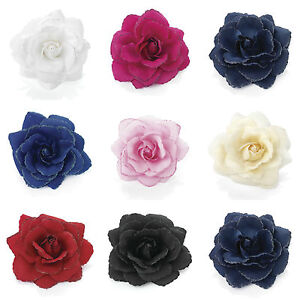 Glitter-Rose-Flower-Hair-Elastic-Bobble-Band-Beak-Clip-Corsage-Fascinator-16