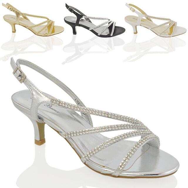 Womens Diamante Mid Heel Bridal Ladies Prom Party Evening Wedding Sandals Size