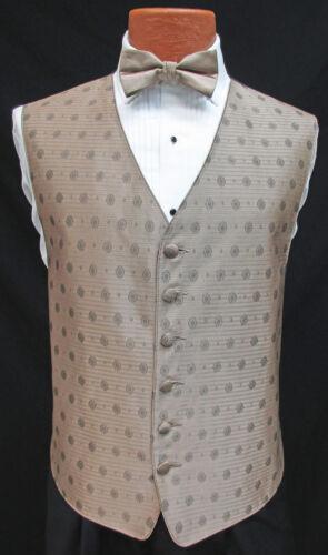 Men/'s Latte Brown Perry Ellis Fullback Tuxedo Vest /& Tie Set Cruise Wedding Prom