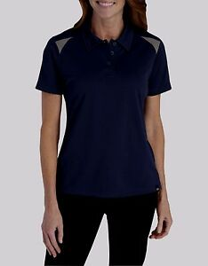 Dickies-Navy-Blue-amp-Gray-S-S-Poly-Performance-Shop-Polo-Shirt-Women-039-s-S