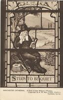 Hampshire Postcard - Winchester Cathedral, Panel of Isaac Walton's Window  A7124