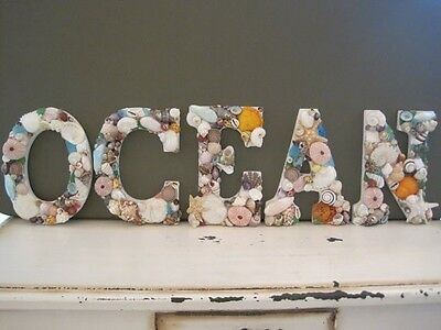 Shell Letters, Beach Decor OCEAN Shell Letters Sign, Seashells, Wedding Gift