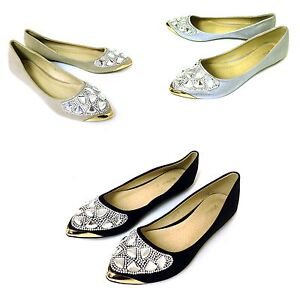 b05491e185931 Women s Ballet Flats Shimmer Slip On Pointed Toe Rhinestone Casual ...