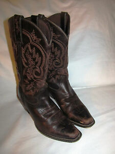 "Womens Durango Crush Square Toe 11"" Cowboy Western Leather Brown Boots Size 6M"