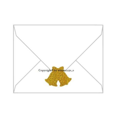 Premium Glitter SILVER GOLD BLACK WEDDING BELLS Envelope Gift Seal Sticker