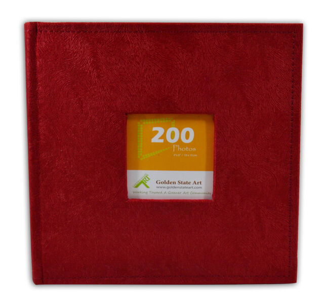 """Photo Album, Holds 200 4""""x6"""" pictures, 2 per page, Suede Cover, Cl55058-9 Red"""