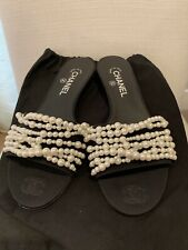 0f6e332352c Chanel 17A CC REV Black Satin Pearl Sandals Mules Shoes - Size 39.5 - 9 1