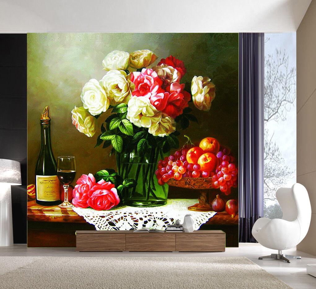 3D Vase rot Fruit  788 Wallpaper Mural Wall Print Wall Wallpaper Murals US Lemon