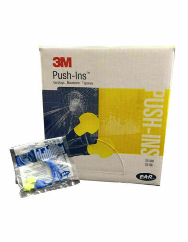 3M E-A-R Push-Ins Earplugs w// Cord The Yellow Plug 2 Boxes 200 Pairs