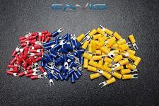 75 PK 14-16 GAUGE VINYL SPADE CONNECTORS 25 PCS EACH #6 #8 #10 TERMINAL FORK