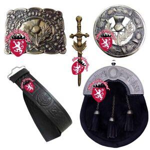 HS Highland Kilt Outfit Full Dress Sporran Bovine Thistle Belt,Buckle,Pin,Brooch