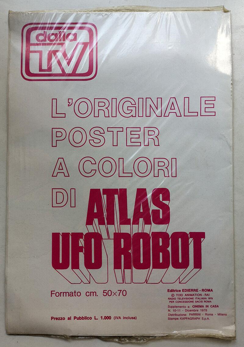 Poster + adesivo + trasferelli ATLAS UFO ROBOT ororake EDIERRE 1978 BLISTERATO