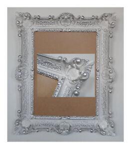 wei silber bilderrahmen fotorahmen bild foto rahmen mit glas barock antik 30 40 ebay. Black Bedroom Furniture Sets. Home Design Ideas