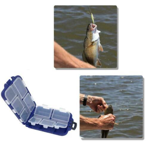 Portable Fishing Tackle Box Waterproof 10 Grids Fishing Spoon Lure Hook T2O5
