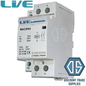 63 Amp 2 Pole Contactor AC 12kW Normally Open DIN Rail Mount Heating Lighting 5060316234693