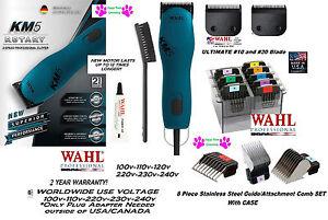 Wahl-KM5-SUPER-DUTY-BLUE-Clipper-KIT-amp-ULTIMATE-10-30-Blade-amp-8-ATTACHMENT-COMB-SET