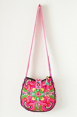 Beautiful Handmade Crossbody Bag with Hmong Tribes Embroidered Fabric Thailand
