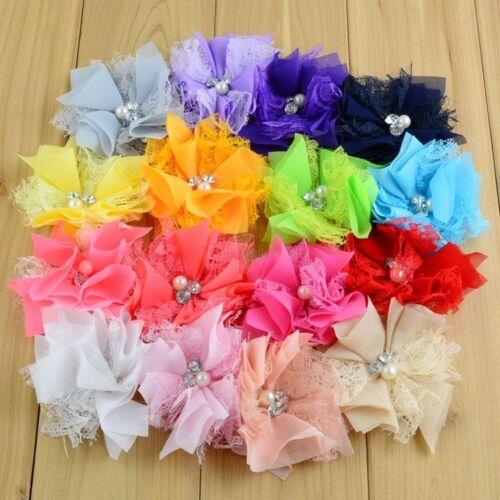 "30pcs 3.2/"" Lace Fabric Chiffon Flower+Rhinestones Pearls For Headbands"