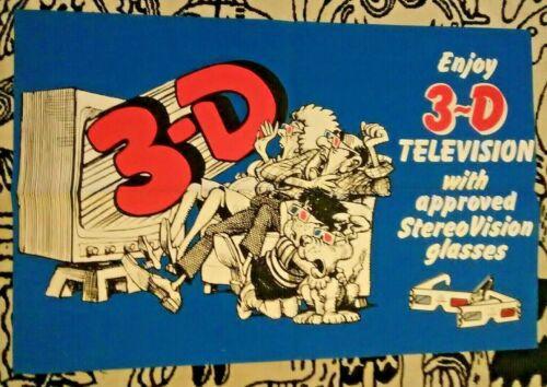 NOS vtg StereoVision promo poster OV1-3D 3-D TV television retro advertising