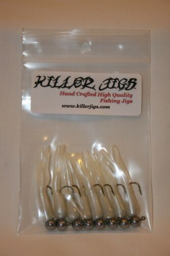 8 pk Glow Pearl Crappie Fishing Tube Jigs Bluegill Perch Trout Walleye Bream