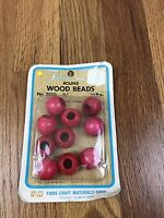 Vtg Round Wood Beads Lot Of 10 Red 7/8 Fibre-craft