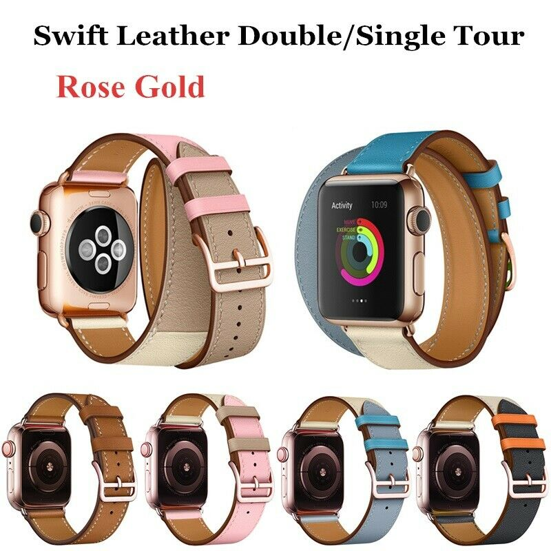 iwatch: Leather Double Tour Iwatch 5 Strap Band Bracelet For Apple Watch Series 6/5/4/3