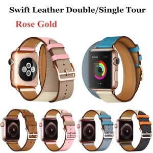 Leather-Double-Tour-Rose-Gold-Buckle-Strap-Band-Bracelet-For-Apple-Watch-Series