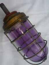 ANTIQUE TAPLET 4475 EXPLOSION PROOF PURPLE GLASS GAS STATION LIGHT FIXTURE BRASS