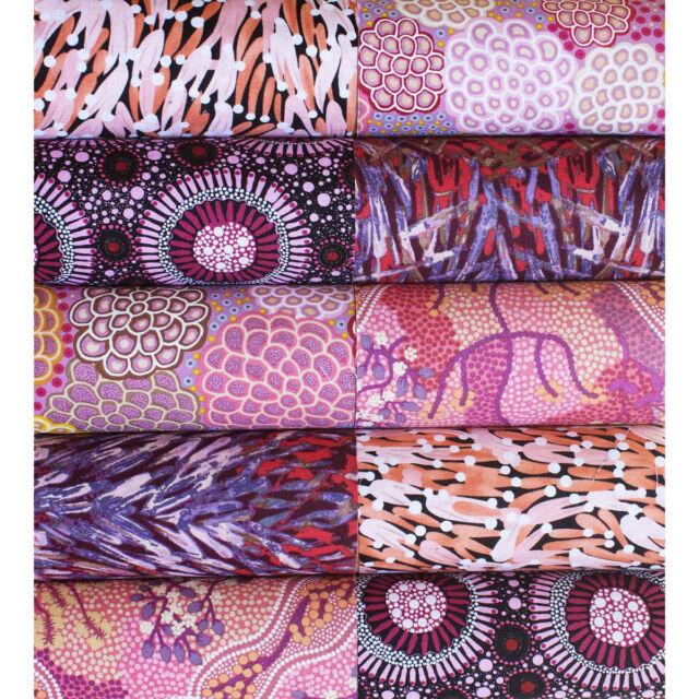 "5"" QUILTERS CHARM PACK - 20 AUSTRALIAN ABORIGINAL ART FABRICS - PINK EARTH #1"
