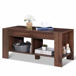 2 Tier Wood Coffee Table Sofa Side Table W Storage Shelf