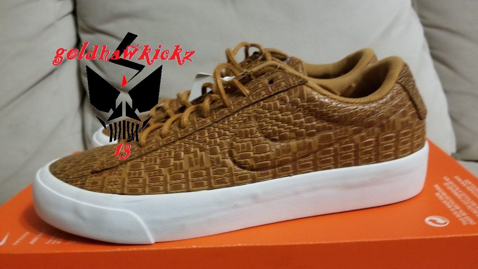 Nike blazer studio basso 880872 700 deserto ocra croc nikelab di pelle marrone o
