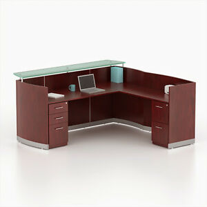 Image Is Loading Reversible Mahogany Laminate L Shape Reception Desk Textured